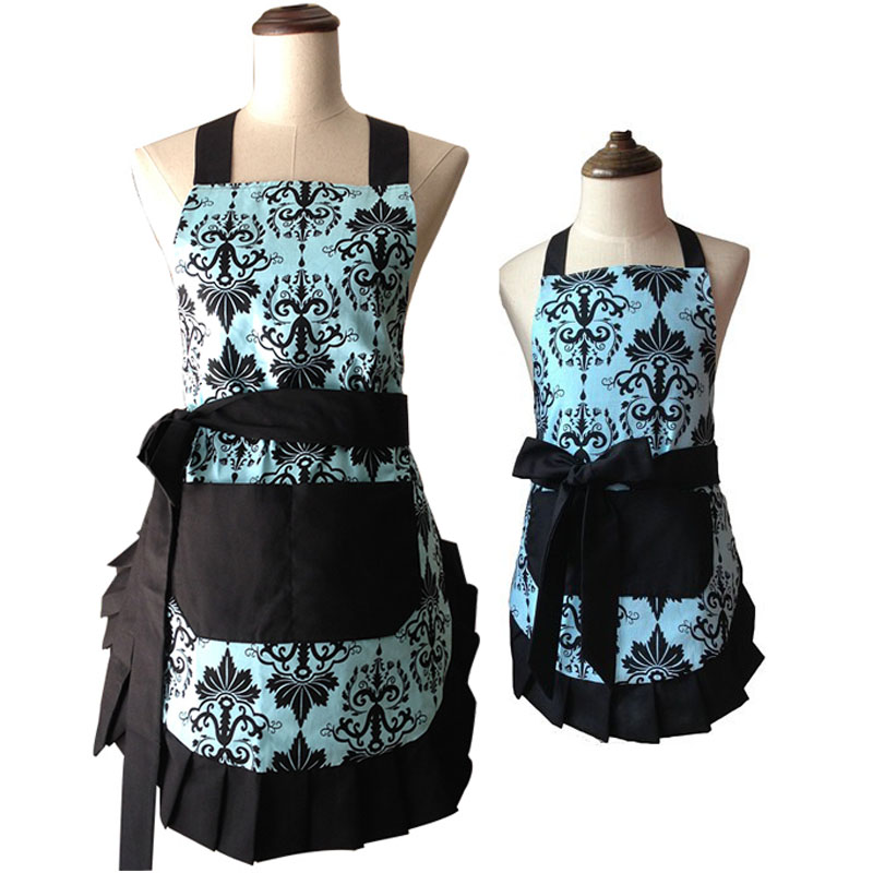 Retro Kitchen Apron Women Girls Flirty Aqua Damask