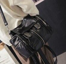 Женская мода девушка милая кожа pu рюкзак простой стиль сумка рюкзак для путешествий черный de *-89599agh