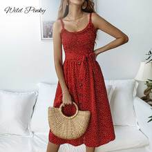 WildPinky Boho Polka Dot Print Dress Women Casual Sleeveless Buttons Elastic Waist Midi Female Beach A-line Vestidos