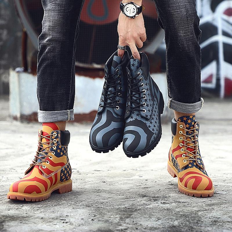 2018 marque Cool homme Martins bottes en cuir Sport mâle moto bottine Sneakers bois terre chaussures hommes Dr armée militaire bottes