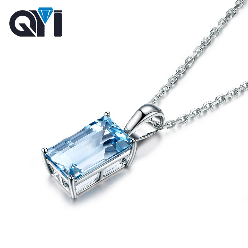 QYI Natural sky Blue Topaz Gemstone Solitaire Pendants For Women 4 ct Emerald Cut 925 Sterling Silver Topaz Necklaces Pendants household manual hand maize soybean wheat coffee bean pepper grinder crusher