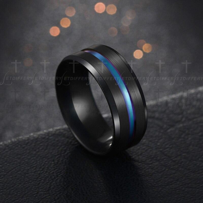 Black Blu Stainless Steel Midi Rings For Men 1