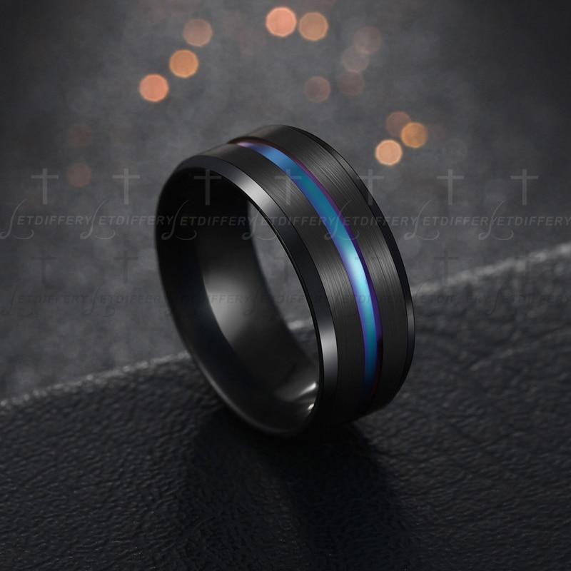 Letdiffery Hot Sale Groove Rings Black Blu Stainless Steel Midi Rings For Men Charm Male Jewelry