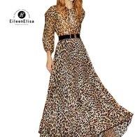 Платье Женская Осенняя обувь 2018 с длинным рукавом высокая приталенное платье Vestidos женский леопардовый длинное платье элегантный