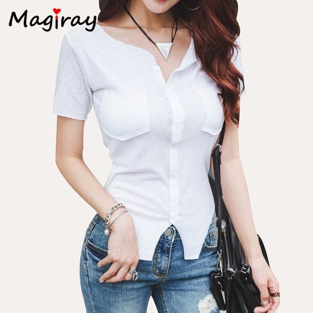 cb10caa537e8 Magiray Short Sleeve T Shirt Women 2019 Sexy Irregular Thin Summer Top  Casual V Neck Pocket Skinny Sun Hot White Tee Shirt C173