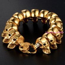 Fashion Jewelry 22CM Heavy Chain Link Gold Tone Stainless Steel Skull Bracelet Man Cool Mens Bracelets Bangles Wristband Gift
