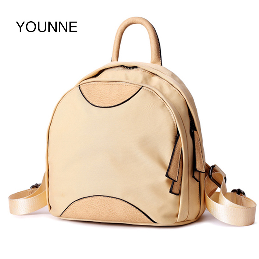 YOUNNE New Women Limited Hot Sale Zipper Backpack Female Solid Color Style Fashion Nylon Waterproof School Bags for Teenagers