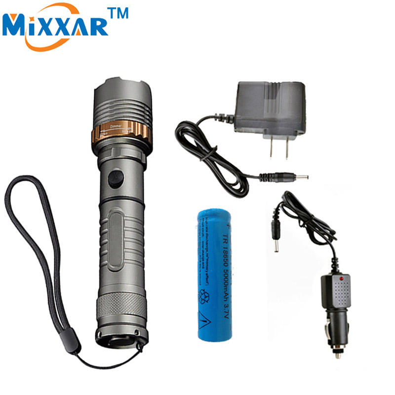 ZK30 Cree XM-L T6 4000LM LED Flashlight LED Self Defense Rechargeable Torch Flashlight 18650 or 3xAAA Battery Charger zk35 cree xm l2 4500lm 5 mode flashlight torch led flashlight self defense lamp rechargeable with 18650 battery for outdoor
