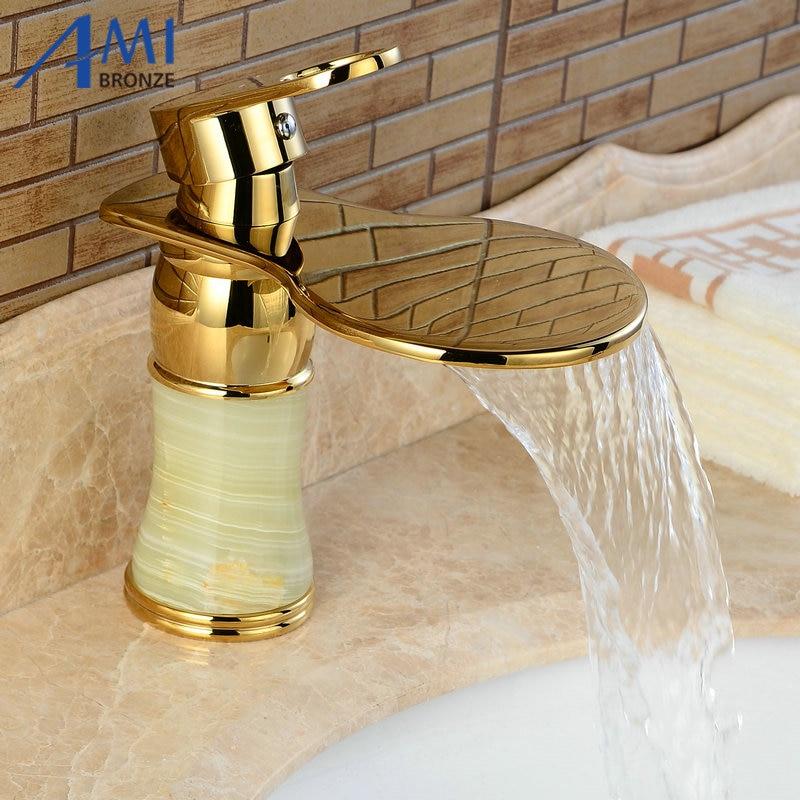 Newly Art Jade Body Bathroom Basin Faucet Brass Mixer Tap Golden Waterfall Faucets J310 цены онлайн