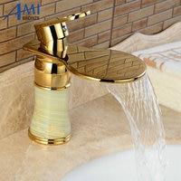 Newly Art Jade Body Bathroom Basin Faucet Brass Mixer Tap Golden Waterfall Faucets J310