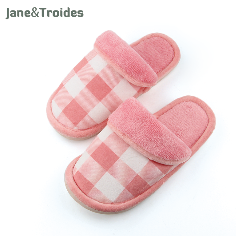 Women Home Plaid Slippers Fleece Warm Winter Anti Slip Slippers Thicken High Quality Indoor Slippers Fashion Woman Shoes 2017 new anti slip women winter martin