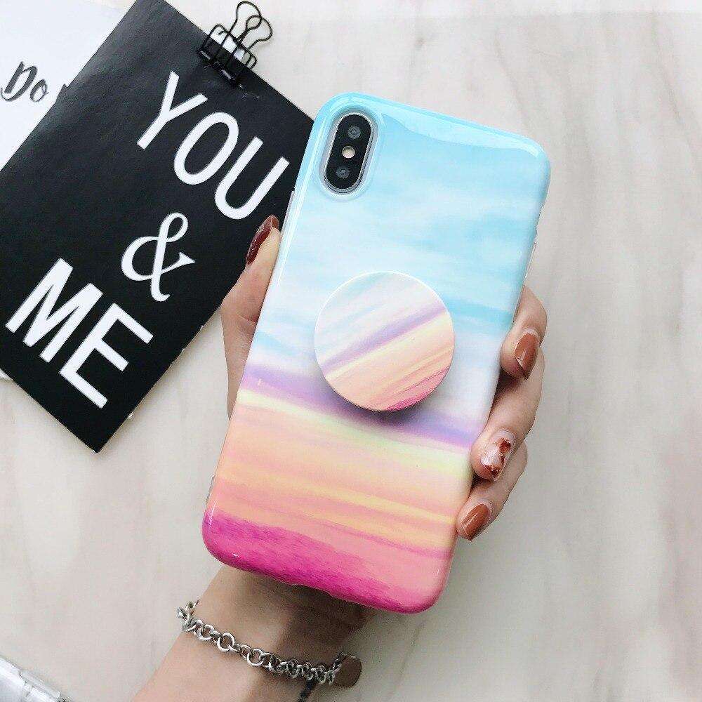 Модные Мрамор вен поп стенд чехол для телефона для iPhone X 6 6 S 7 8 Plus для iPhone 7 plus 8 плюс случаи Роскошные ТПУ крышка Капа Fundas