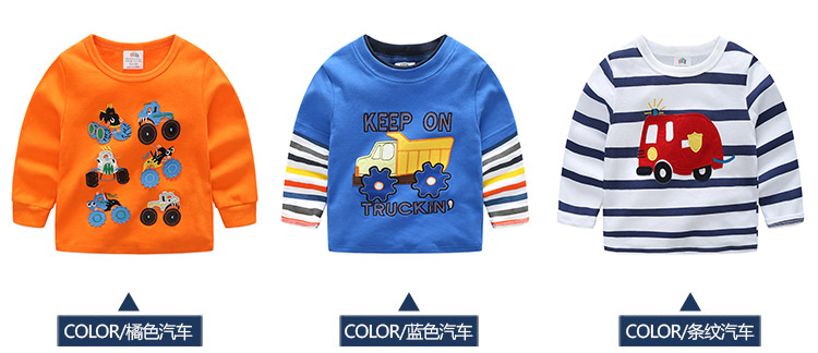 2018 Spring Autumn For 2-9 10 Years Children Cotton Striped Patchwork Cartoon Car Bus Truck Baby Kids Boys Long Sleeve T Shirts (10)