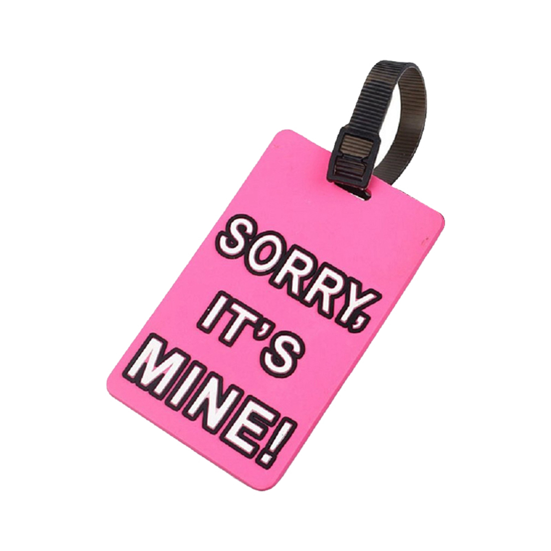 AIMA SORRY ITS MINE Luggage Carrier Holder ID-Adress Label Identifier Silicone on Luggage Tag for Suitcase (pink)