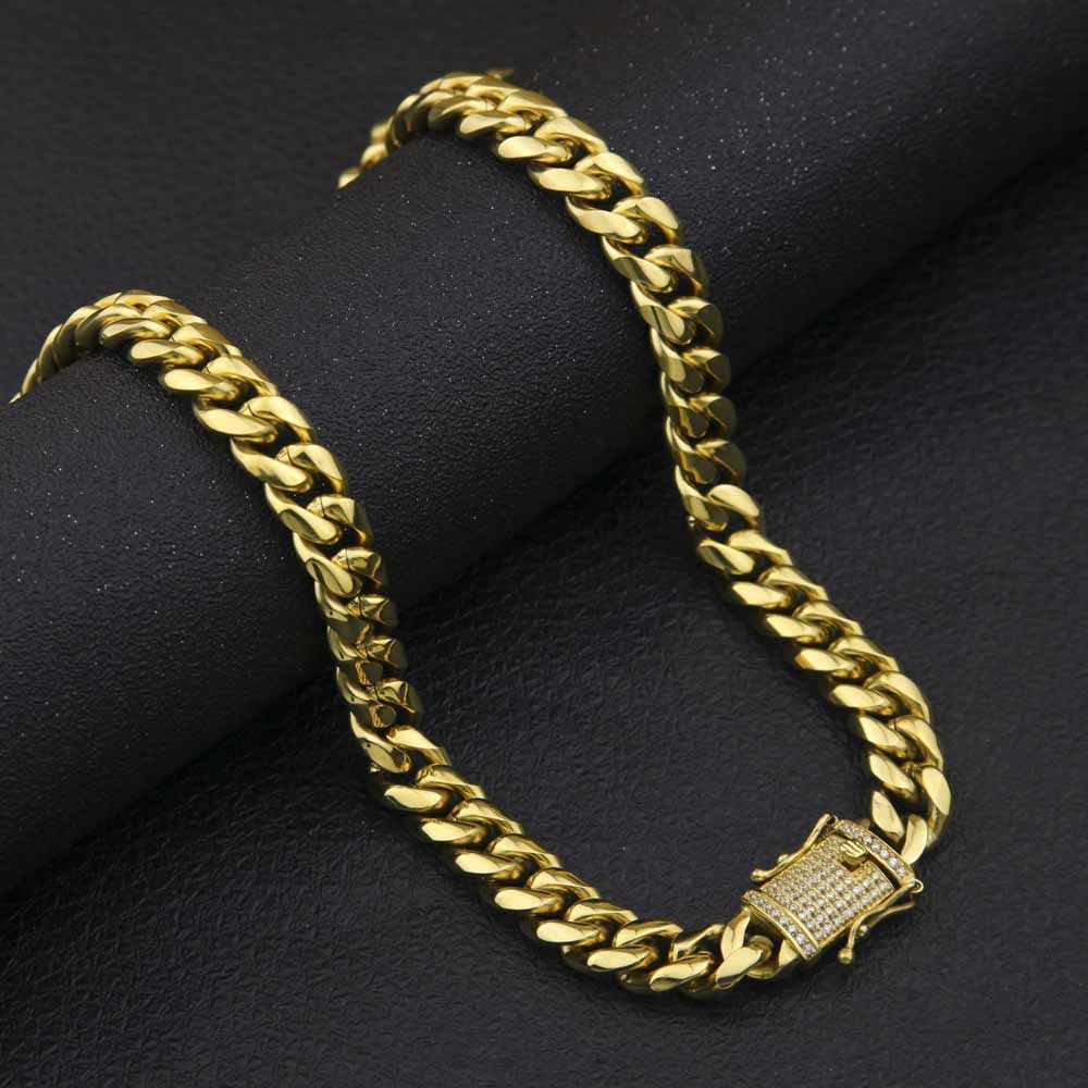 ... Hip hop 10 14mm Men Cuban Miami Chain Necklace Stainless steel  Rhinestone Clasp Iced Out 3e039bd230f8