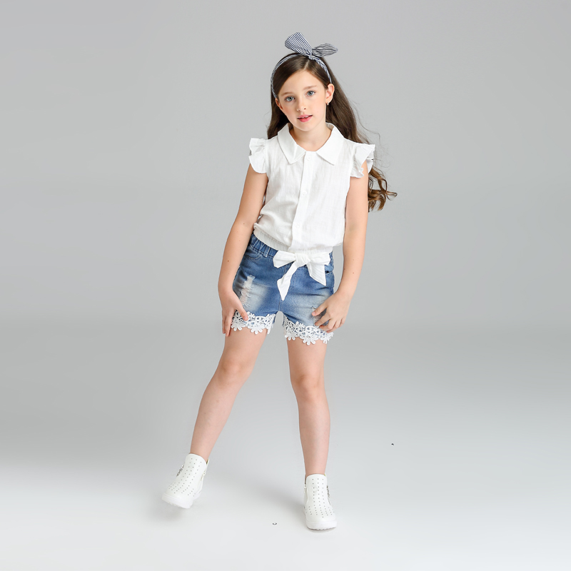 New girls clothes casual sleeveless shirt+ denim shorts fashion lace kids clothes summer clothing sets summer new fashion style children clothing baby girls clothes sleeveless sling chiffon vest shorts kids set