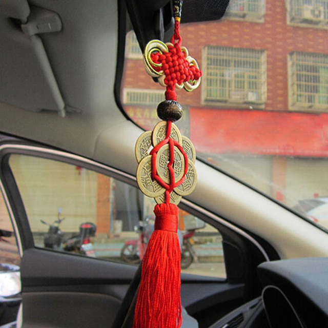 Feng Shui nudo chino borla China mascota Lucky Charm monedas antiguas protección de la riqueza buena fortuna Metal decoración del coche