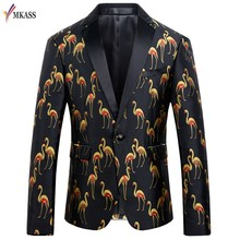 MKASS Brand New Fashion Flamingo Stampa Uomini Blazer Designs Slim Fit Plus Size M-4XL Giacca Sportiva Casuale Per Gli Uomini(China)