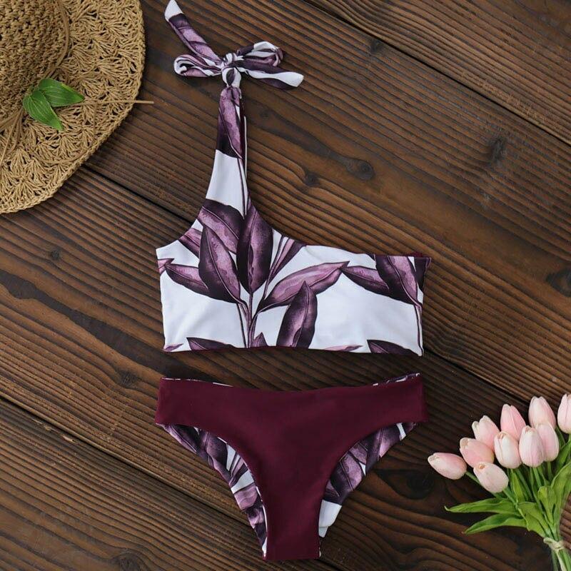 New One Shoulder Leaves Print Bikini 11
