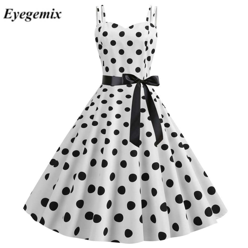 Sexy Retro biały Polka sukienka w kropki lato 2019 Hepburn styl w stylu Vintage Halter wakacje Party sukienki 50 s 60 s Pin Up rockabilly sukienka