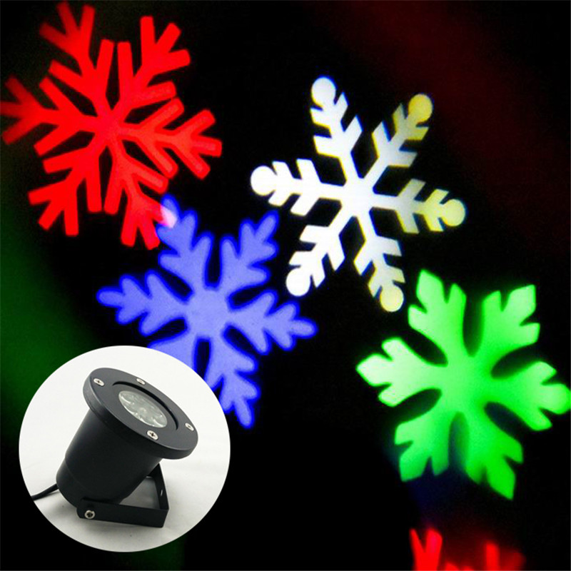 RGB LED Snowflake Lights Waterproof Outdoor Moving Snowflake Display on House Outside Wall Light Landscape Projector Lighting snowflake