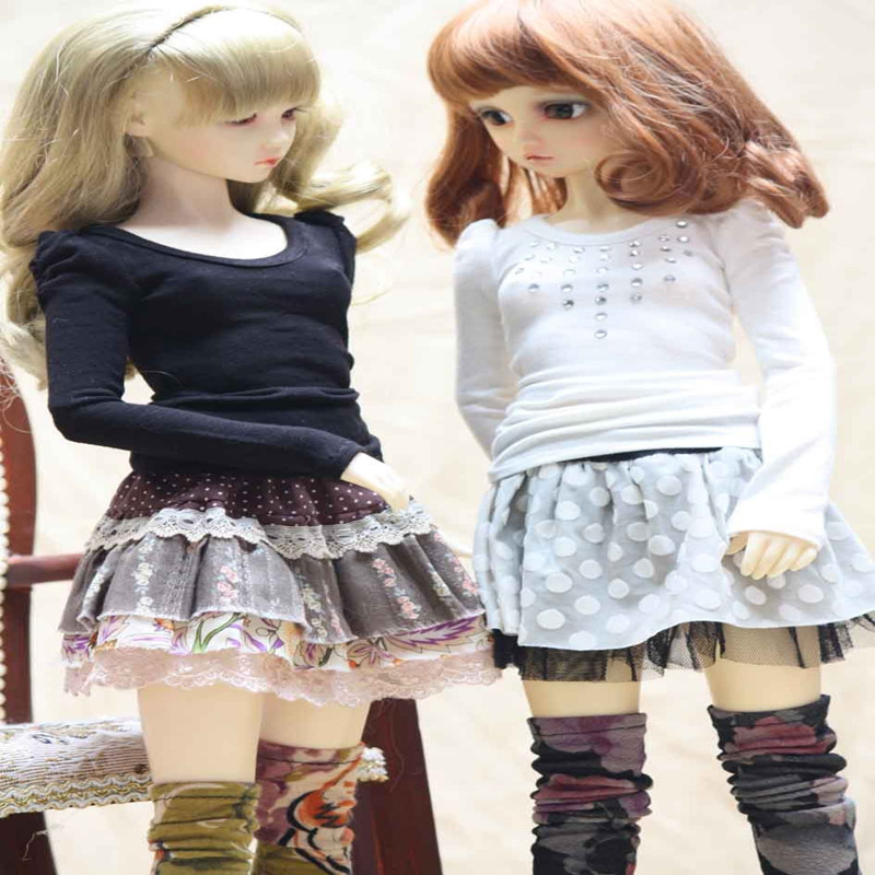 1/3 BJD Doll suit T-shirt with skirt full set - SD10 SD13 female 1 4 1 3 sd17 uncle bjd sd doll accessories bjd clothes black t shirt