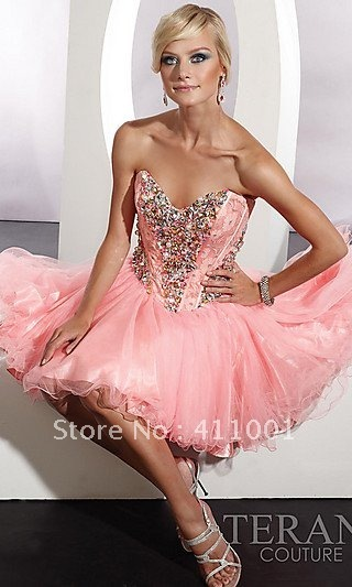 Coral Pink Corset  Strapless Babydoll Ball Gown Lace beads Junior Prom Cocktail Party Mini Novelty Dress All Sizes Free SHipping