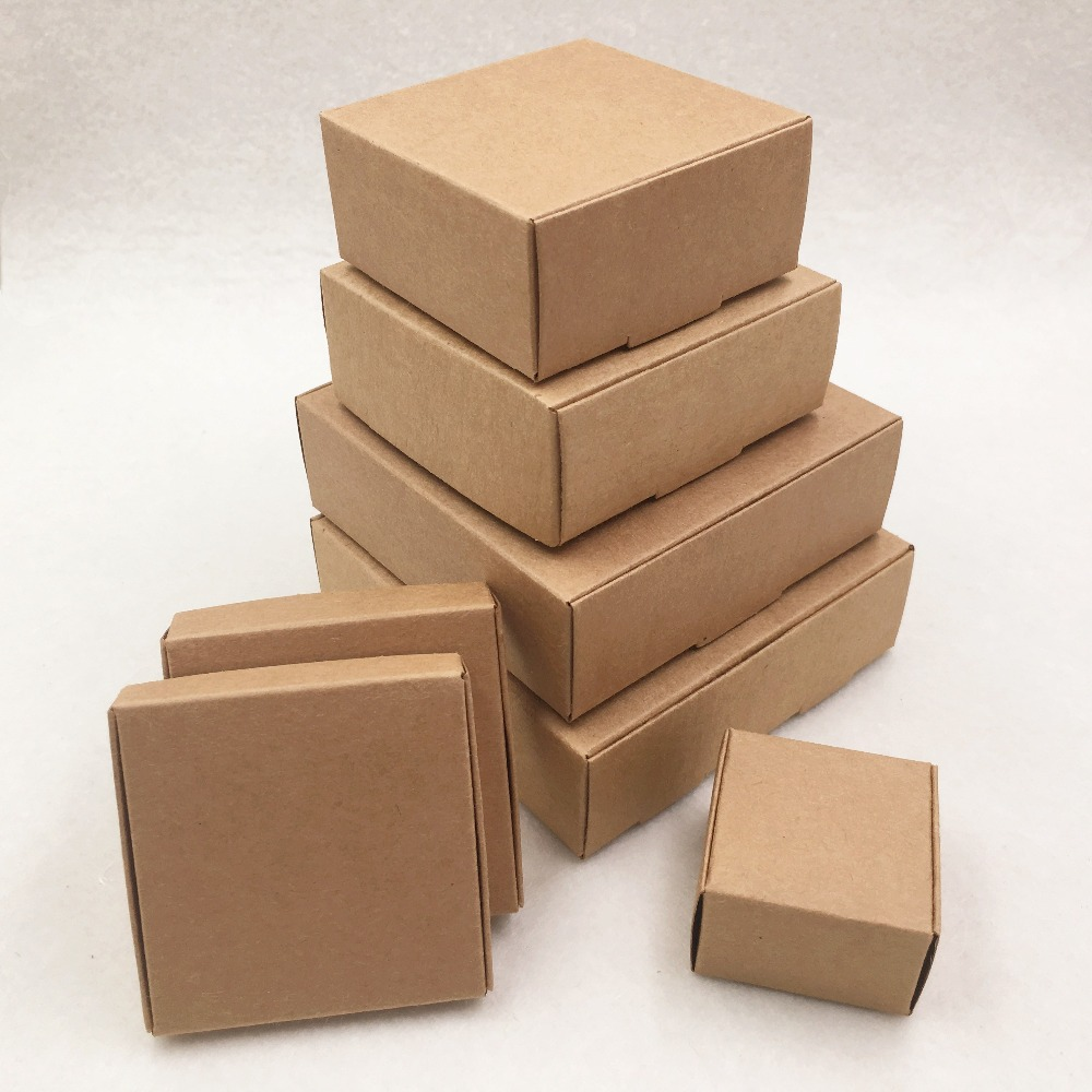 20pcs 6 Size Aircraft Brown Gift Packaging Kraft Paper Box For Jewelry\Wedding\Candy\Crafts\Cake\Handmade Soap Packing Boxes