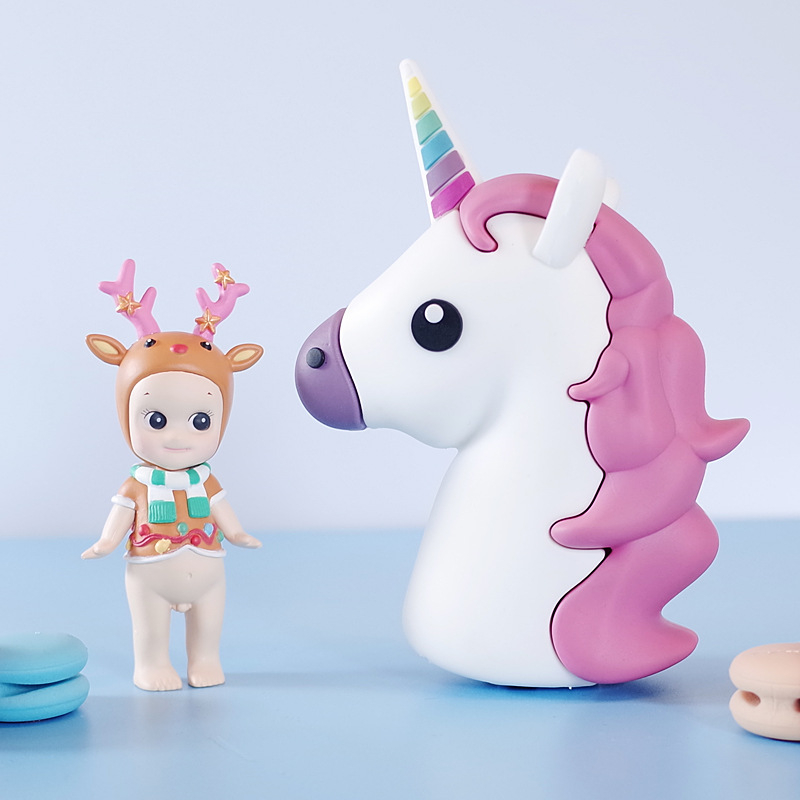 1600mAh Mini Unicorn Cartoon Emoji Shaped Power Bank Portable External Battery Charger For iphone X Charging For Samsung NOTE 8