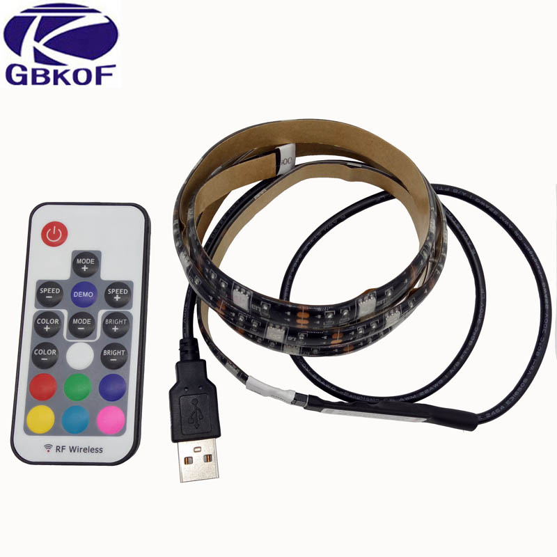 5V USB LED Strip 5050 RGB TV Background Lighting Kit Cuttable with 17 Keys RF Remote Controller 50CM/1M/2M Set Adhesive Tape