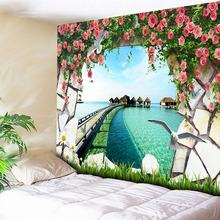 Flowers Sea Tapestry Wall Hanging Boho Bedroom Decorative Wall Tapestry Living Room Hippie Tapestry Sofa Background Wall Cloth