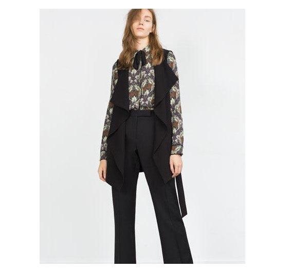 2016 новые поступления! Пр офис леди женская причинно длинным жилет с v-образным безрукавка сплошной цвет самки тонкий пиджак