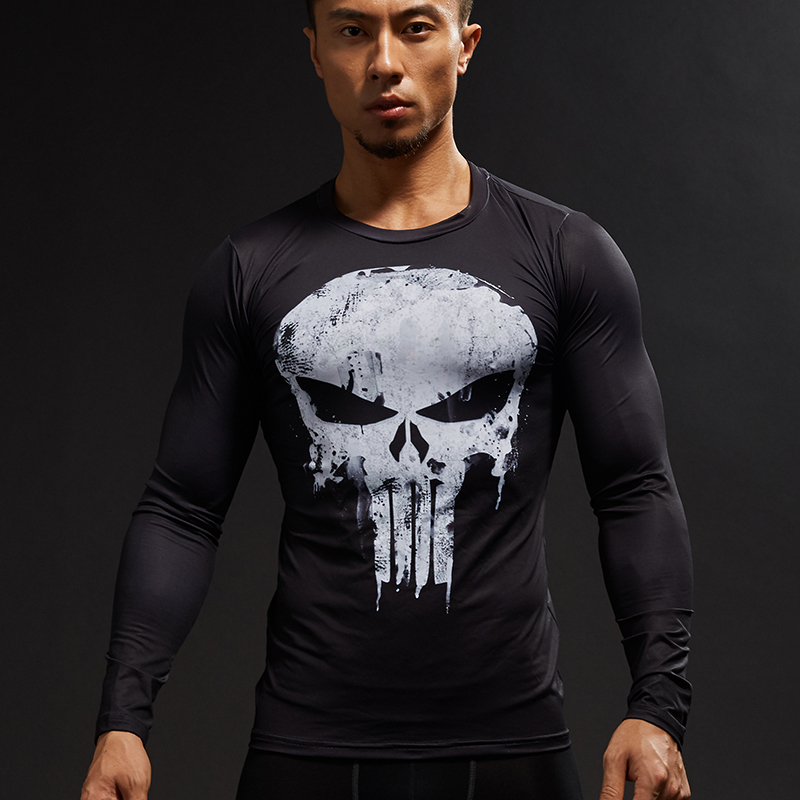2019 Nieuwe 3D-Gedrukte T-shirts Heren Compressie Shirts Lange mouw Cosplay Kostuum crossfit fitness Kleding Tops Heren Black Friday