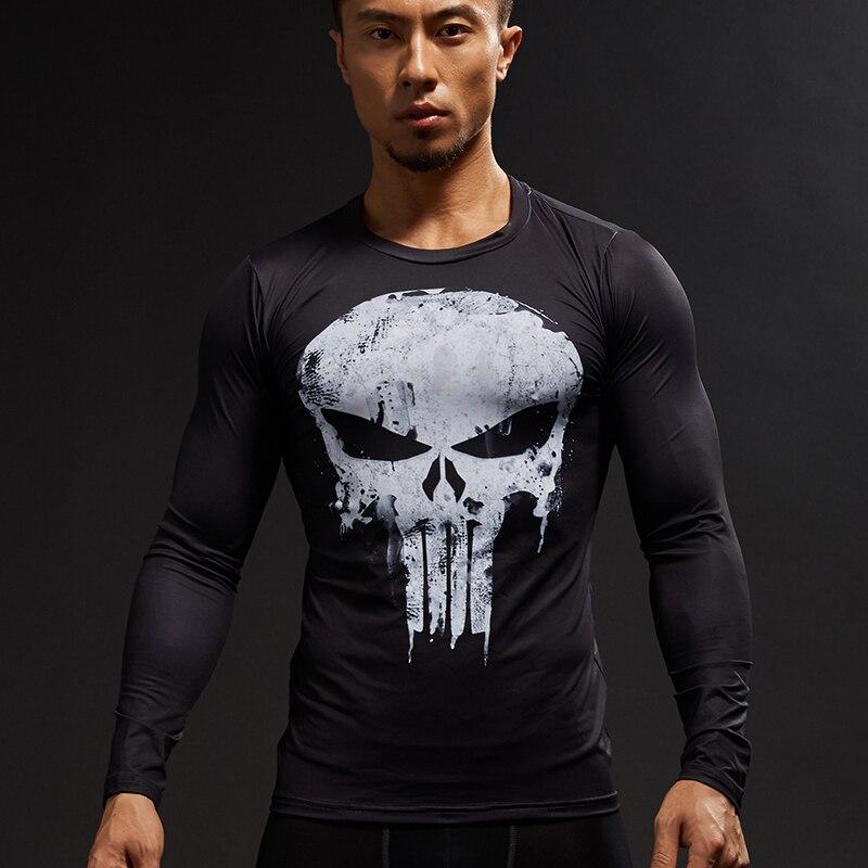Punisher 3D T-shirt Stampate Uomini di Compressione Shirt Manica Lunga Costume Cosplay crossfit fitness Abbigliamento Top Maschio Nero Venerdì