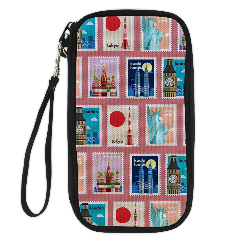 New Funny Stamps Travel Design Passport Bag Business Card