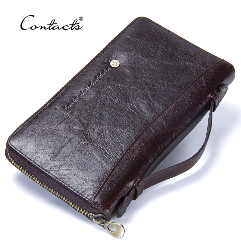 Contact's Cow Leather Men Casual Clutch Wallet Card Holder Zipper Purse With Passport Holder Phone Case For Male Long Wallet vintage handmade natural cow leather women s large burgundy wallet card case retro long wallet phone holder ladies clutch purse