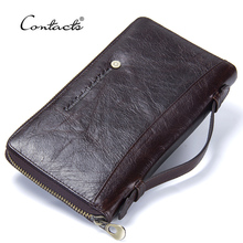 Contacts Cow Leather Men Casual Clutch Wallet Card Holder Zipper Purse With Passport Holder Phone Case For Male Long Wallet
