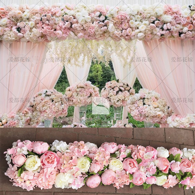 Hot Pink Wedding Pavillion Flowers strips square canopy flower decoration Wedding Supply 3M x 24cm & Hot Pink Wedding Pavillion Flowers strips square canopy flower ...