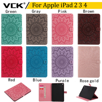 VCK Emboss Flower Pattern TPU Flip Leather For Apple IPad 2 3 4 Case Stand Ultra
