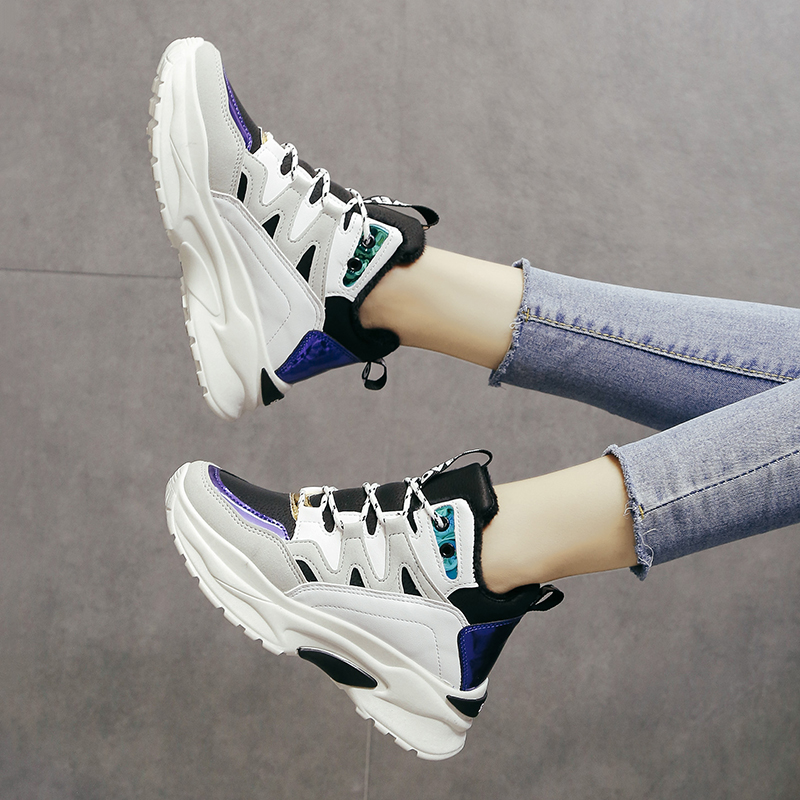 1d21004e35fc87 Peluche forme Femmes Noir Plate Chaud marron Nouvelle Casual up Sneakers Ae  Dentelle En Mode blanc D'hiver Appartements Chaussures ...