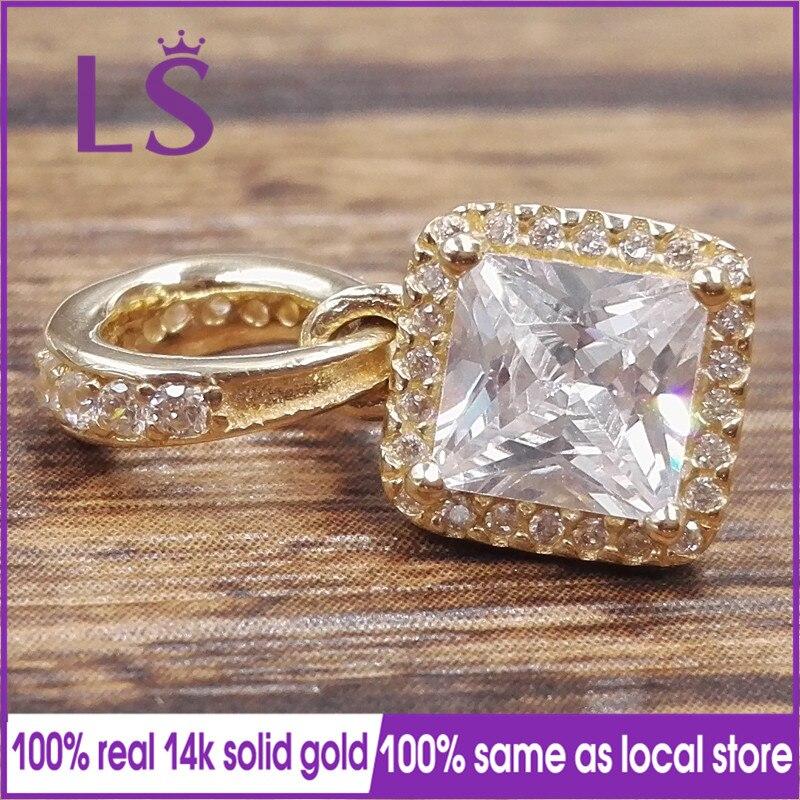 LS New 100% 14&k Real&Solid Gold Timeless Elegance Charm Fit Original Bracelets Pulseira Berloque 100% Original Fine Jewelry N original nl6448ac30 10 nl6448ac33 13 ltm10c042