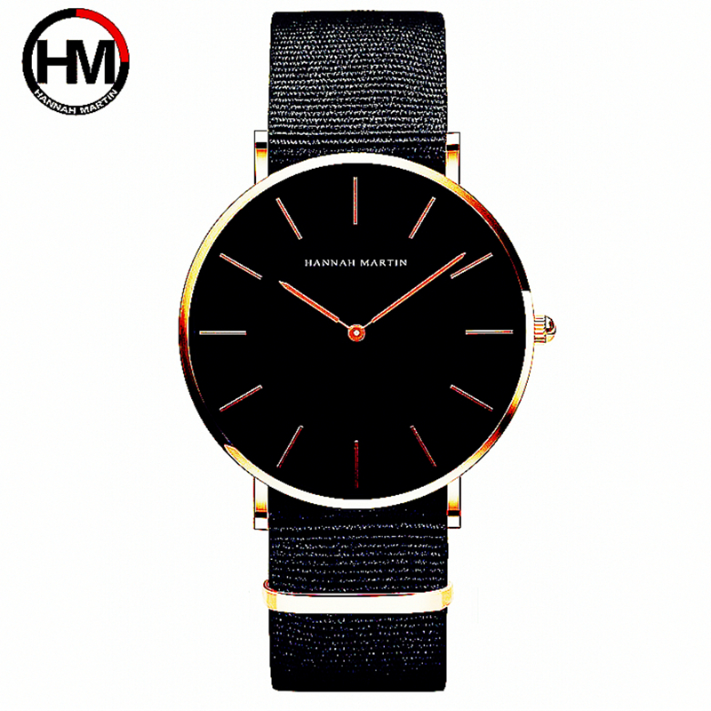Two Needles Fashion Men Brand HM Hannah Martin Luxury Watches Simple Slim Design Nylon Leather Strap Quartz Wristwatch FD1030