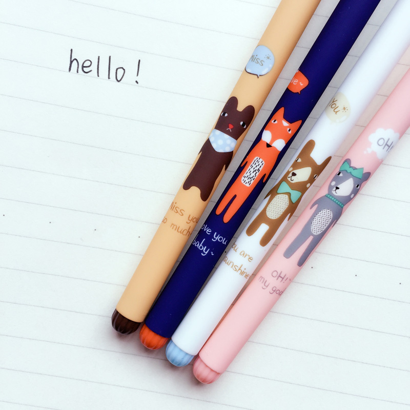 M34 4X Cute Kawaii Forest Fox & Bear Gel Pen Writing Signing Pen School Office Supply Kids Student Stationery boegli m 34