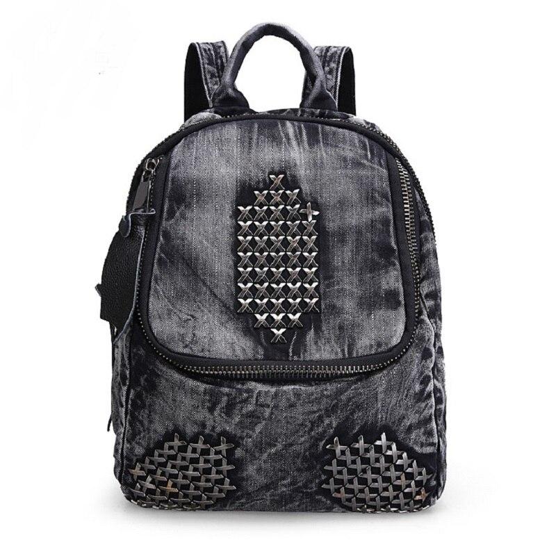 Nouveau Vintage décontracté Style Preppy noir Rivet Denim sac à dos sacs d'école Jeans femmes sacs à dos sac à bandoulière bolsa feminina