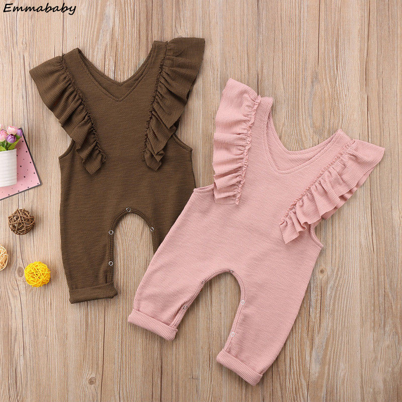 Cute Kids Baby Girls Pleated Ruffled Solid Sleeveless   Rompers   Overalls Jumpsuit Long Pants Hot Sale Children Clothes Outfits