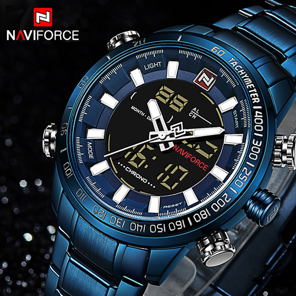 NAVIFORCE 9093 Top Brand Mens Quartz Watch Fashion Digital LED Sport Watch Waterproof Man Watches Male Clock Relogio Masculino 2016 brand o t s fashion outdoor sport waterproof led mens clock digital