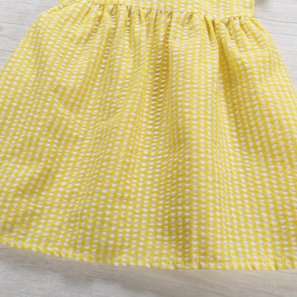 Fashion Girls Summer Dress Toddler Kids Baby Girls Sleeveless Ruffled Plaid Casual Dress Sundress Simple Clothes robe ete fille