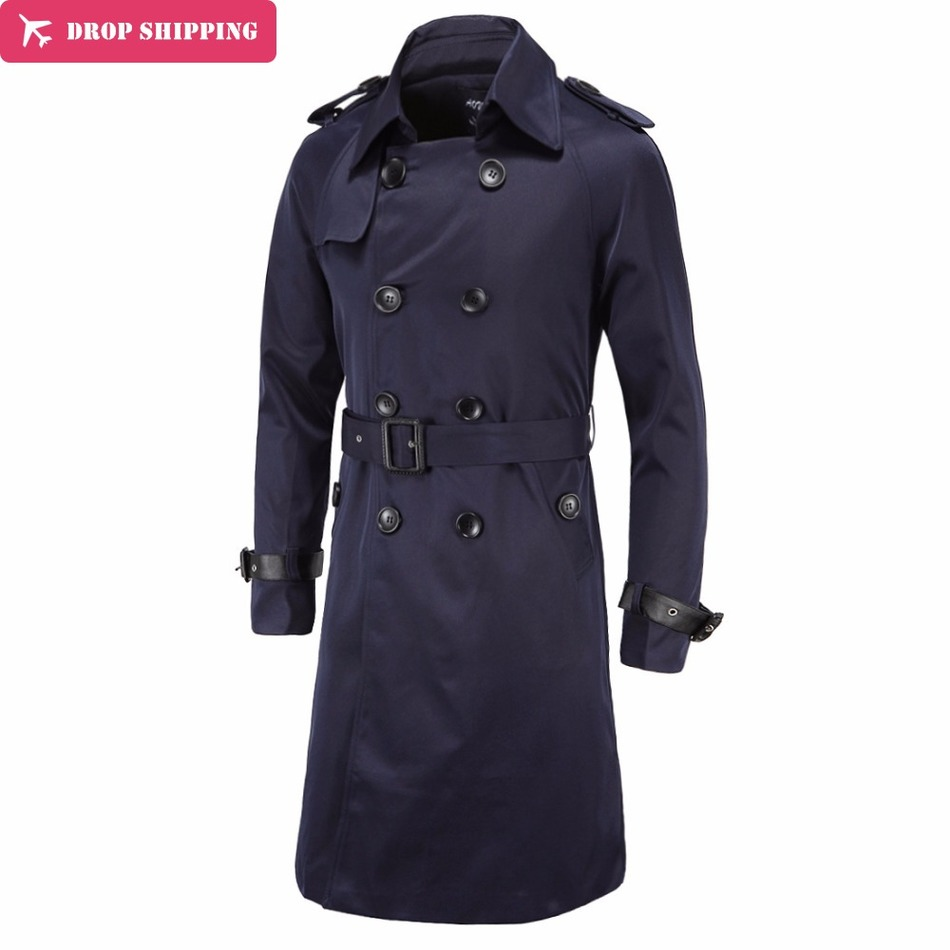 Drop ShippingTrench Coat Men X-long British Slim Fit Pea Coats Double Breasted Mens Overcoat   Trenchs   Brand Clothing Male Coat