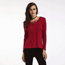 Autumn Winter font b Women b font V Neck Knit Sweater Long Sleeve Black Red Pullover