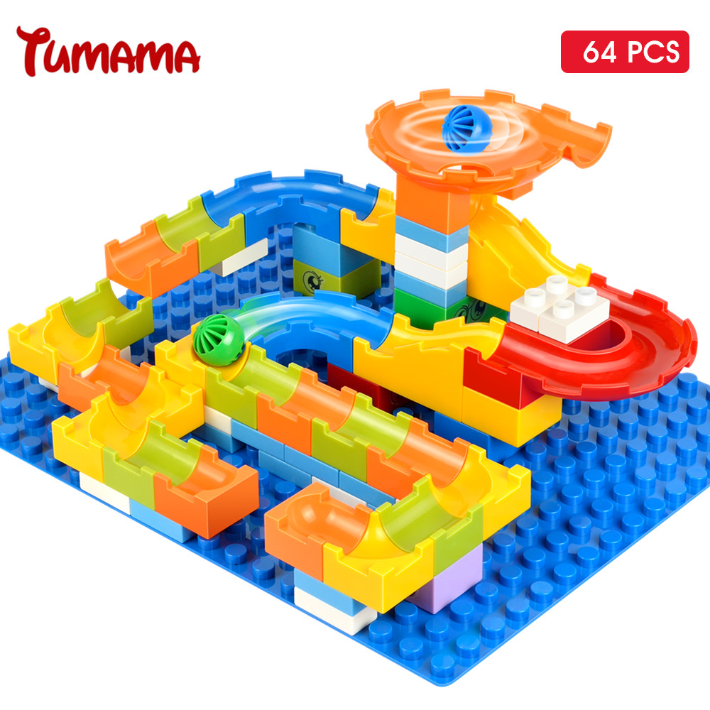 Tumama 64pcs Marble Race Run Maze Balls Track Big Size Building Blocks Kids Construction Educational Toys Compatible With Duplo wooden toys building blocks tree marble ball run track game educational baby kids bauble